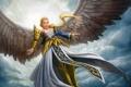 Картинка девушка, облака, крылья, ангел, арт, в небе