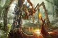 Картинка вода, огонь, магия, человек, робот, монстр, паук