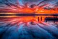 Картинка море, небо, облака, отражение, зарево
