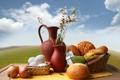 Картинка корзина, яйца, лук, хлеб, ваза, кувшин, выпечка