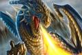 Картинка огонь, арт, монстр, скалы, дракон