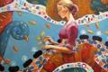 Картинка листья, девушка, цветы, мозаика, узоры, краски, картина