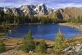 Картинка лес, горы, озеро, камни, Природа