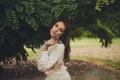 Картинка лето, девушка, лицо, фон, бабочка, волосы, Weronika