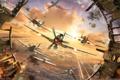 Картинка самолеты, выстрелы, World of Warplanes, осколки, тучи, в небе, битва
