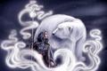 Картинка белый, девушка, медведь, арт, посох, плащ, Ivana Miklesova