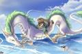 Картинка море, облака, полет, птица, дракон, девочка, spirited away