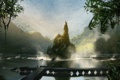 Картинка зелень, пейзаж, город, озеро, холмы, водопады, concept art