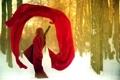 Картинка зима, лес, девушка, платье