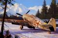 Картинка зима, рисунок, истребитель, Nicholas Trudgian, Bf109F