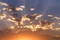 Картинка пейзаж, небо, солнце, природа, облака, лучи