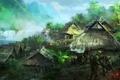 Картинка река, оружие, водопад, деревня, джунгли, арт, солдаты