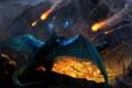 Картинка пожар, скалы, огонь, драконы, армия, арт, нападение