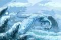 Картинка холод, зима, снег, фантастика, дракон, крылья, арт