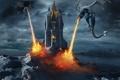 Картинка небо, замок, фантастика, огонь, крылья, драконы
