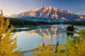 Картинка осень, небо, деревья, горы, озеро