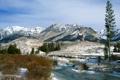Картинка зима, снег, пейзаж, горы, река, Природа, кусты