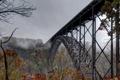 Картинка природа, пасмурность, осень, мост, деревья