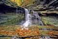 Картинка осень, листья, водопад