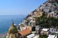 Картинка море, пейзаж, побережье, здания, лодки, Италия, залив