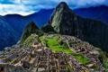 Картинка небо, горы, тучи, развалины, руины, Перу, Мачу-Пикчу