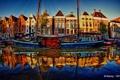 Картинка река, HDR, парусник, Нидерланды, набережная, Netherlands, Groningen