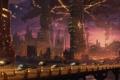 Картинка город, огни, будущее, транспорт, корабли