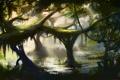 Картинка вода, пруд, дерево, заросли, болото, джунгли, арт