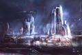Картинка ночь, город, фантастика, небоскребы, мегаполис, art