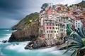 Картинка море, город, скала, дома, Italy, Riomaggiore, Cinque Terre