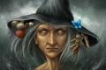 Картинка склянка, пузырек, слепая, ведьма, череп, бабочка, травы