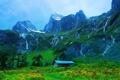 Картинка деревья, горы, природа, поляна, домик, тропинка