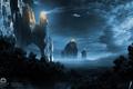Картинка лес, ночь, огни, скалы, Lights of Empire