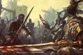 Картинка кровь, азия, меч, бой, руины, битва