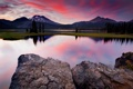 Картинка небо, закат, озеро, камни