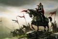 Картинка оружие, кони, армия, войны, арт, всадники, знамя