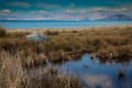 Картинка трава, горы, озеро, берег, лодка