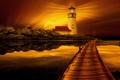 Картинка пейзаж, закат, маяк