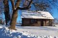 Картинка зима, небо, снег, дерево, склон, домик