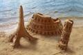 Картинка песок, пляж, Колизей, Italy, Пизанская башня