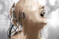 Картинка девушка, провода, краска, робот, голова, арт, клыки