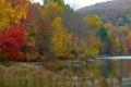 Картинка осень, листья, деревья, горы, река
