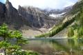 Картинка облака, деревья, горы, озеро, камни, берег, Banff National Park