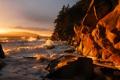 Картинка закат, beach, берег, скальный, clayton, шторм