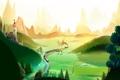 Картинка поезд, долина, нарисованный пейзаж, холмы