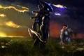 Картинка поле, небо, облака, цветы, птицы, Человек, инопланетянин