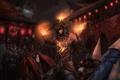 Картинка league of legends, фонарики, мужчина, здания, пламя