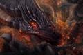 Картинка огонь, город, армия, рога, арт, взгляд, дракон
