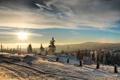 Картинка зима, лес, солнце, горы