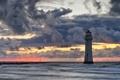Картинка море, пейзаж, закат, маяк